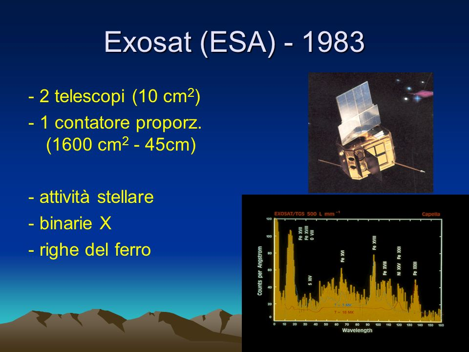 Exosat (ESA) - 1983 - 2 telescopi (10 cm 2 ) - 1 contatore proporz.