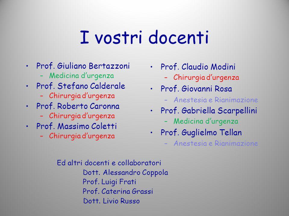 I vostri docenti Prof.Giuliano Bertazzoni –Medicina durgenza Prof.