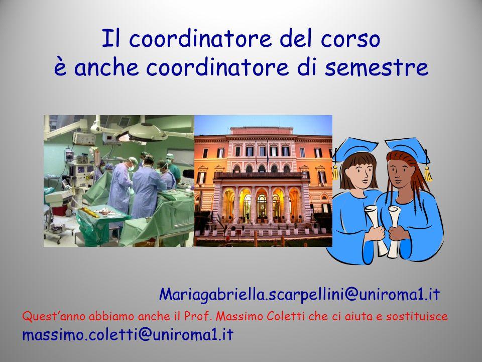 Il coordinatore del corso è anche coordinatore di semestre Mariagabriella.scarpellini@uniroma1.it Questanno abbiamo anche il Prof.