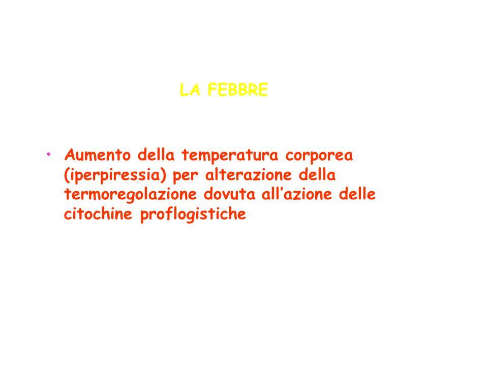 LA FEBBRE Aumento della temperatura corporea (iperpiressia) per alterazione della termoregolazione dovuta allazione delle citochine proflogistiche