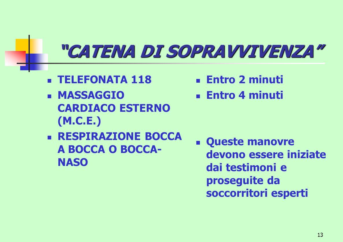 13 CATENA DI SOPRAVVIVENZA TELEFONATA 118 MASSAGGIO CARDIACO ESTERNO (M.C.E.) RESPIRAZIONE BOCCA A BOCCA O BOCCA- NASO Entro 2 minuti Entro 4 minuti Q