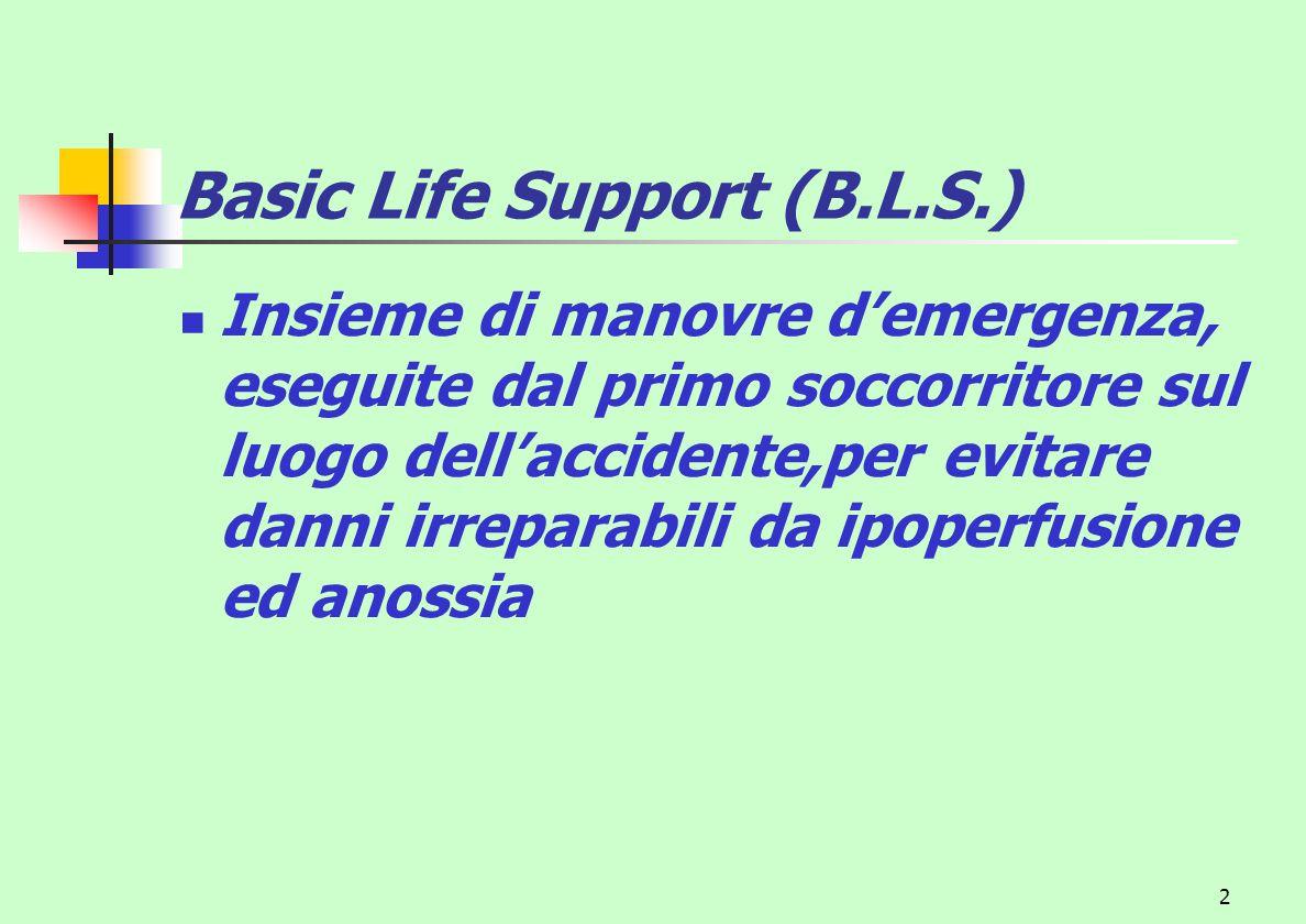 2 Basic Life Support (B.L.S.) Insieme di manovre demergenza, eseguite dal primo soccorritore sul luogo dellaccidente,per evitare danni irreparabili da