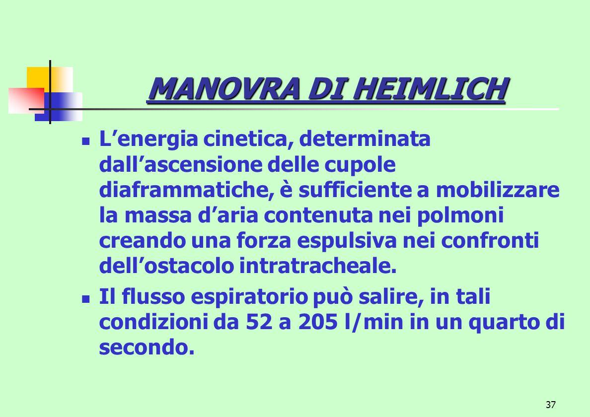 37 MANOVRA DI HEIMLICH Lenergia cinetica, determinata dallascensione delle cupole diaframmatiche, è sufficiente a mobilizzare la massa daria contenuta