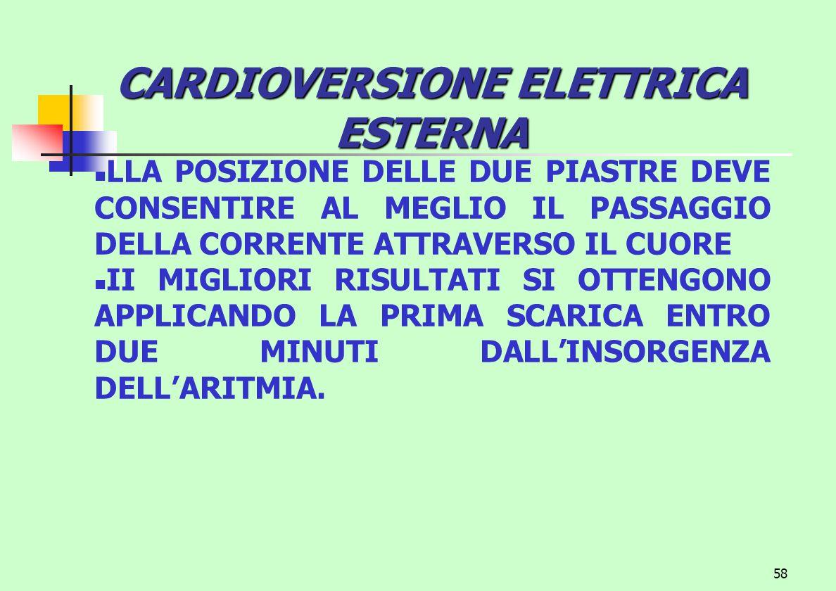 58 CARDIOVERSIONE ELETTRICA ESTERNA LLA POSIZIONE DELLE DUE PIASTRE DEVE CONSENTIRE AL MEGLIO IL PASSAGGIO DELLA CORRENTE ATTRAVERSO IL CUORE II MIGLI