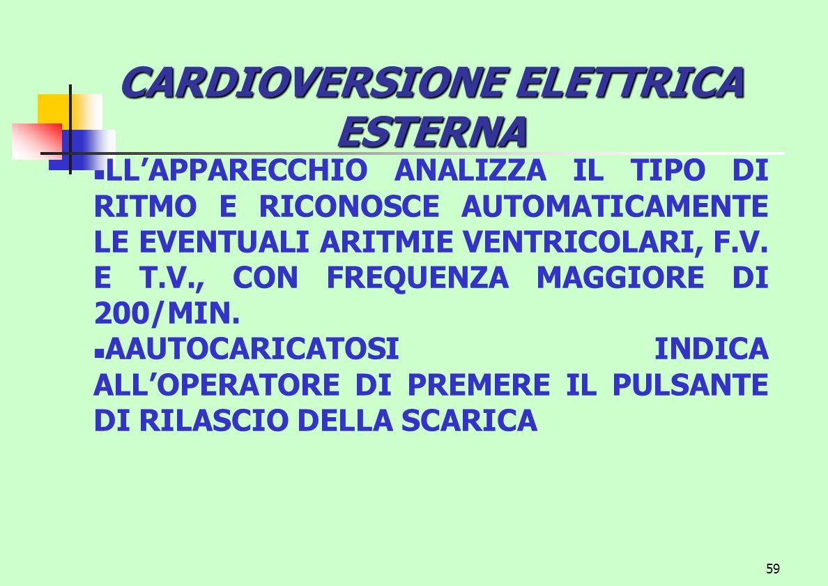 59 CARDIOVERSIONE ELETTRICA ESTERNA LLAPPARECCHIO ANALIZZA IL TIPO DI RITMO E RICONOSCE AUTOMATICAMENTE LE EVENTUALI ARITMIE VENTRICOLARI, F.V. E T.V.
