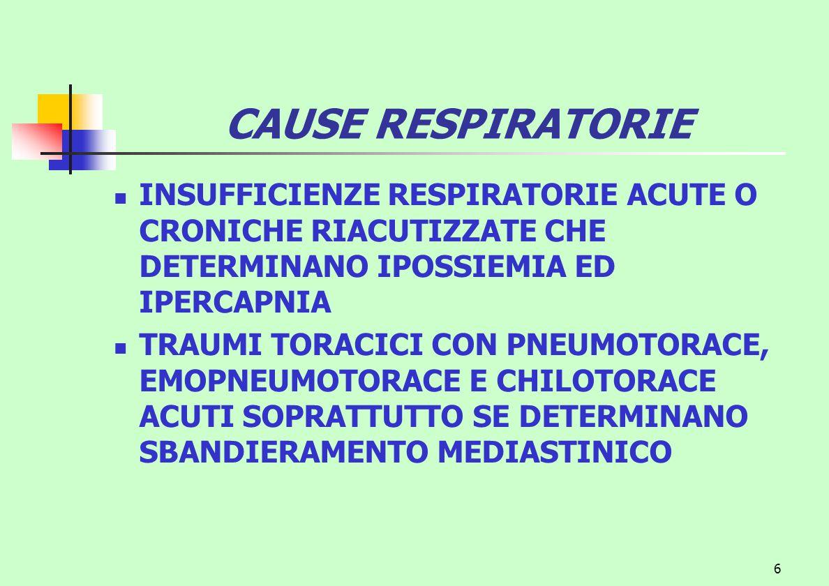 6 CAUSE RESPIRATORIE INSUFFICIENZE RESPIRATORIE ACUTE O CRONICHE RIACUTIZZATE CHE DETERMINANO IPOSSIEMIA ED IPERCAPNIA TRAUMI TORACICI CON PNEUMOTORAC