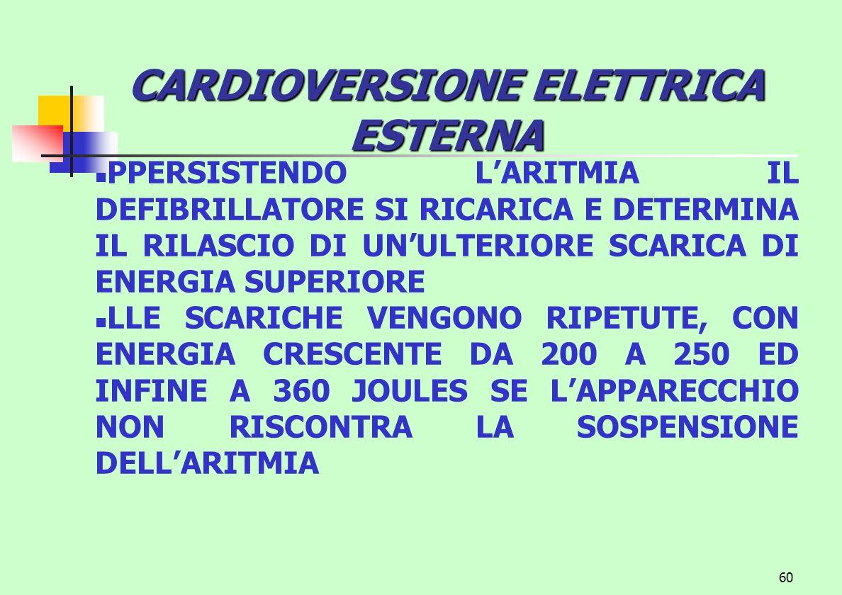 60 CARDIOVERSIONE ELETTRICA ESTERNA PPERSISTENDO LARITMIA IL DEFIBRILLATORE SI RICARICA E DETERMINA IL RILASCIO DI UNULTERIORE SCARICA DI ENERGIA SUPE