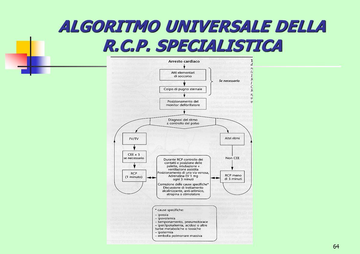 64 ALGORITMO UNIVERSALE DELLA R.C.P. SPECIALISTICA