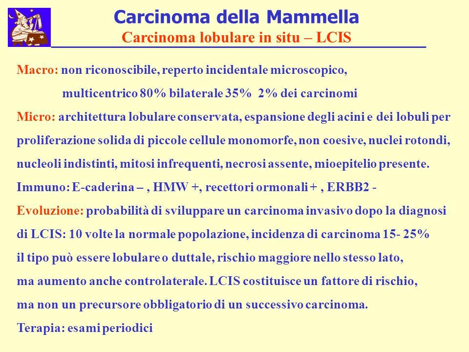 Carcinoma della Mammella Carcinoma lobulare in situ – LCIS Macro: non riconoscibile, reperto incidentale microscopico, multicentrico 80% bilaterale 35