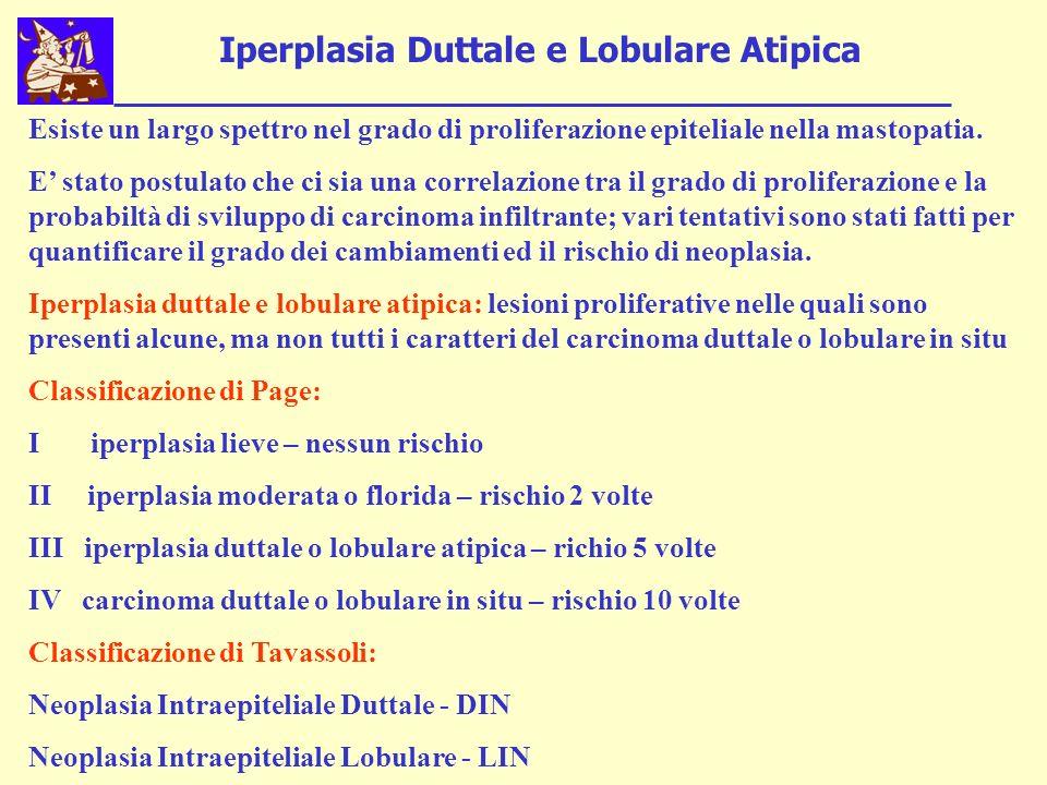 Iperplasia Duttale e Lobulare Atipica Esiste un largo spettro nel grado di proliferazione epiteliale nella mastopatia.