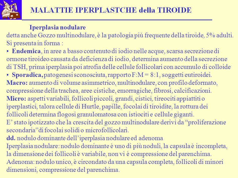 Iperplasia nodulare detta anche Gozzo multinodulare, è la patologia più frequente della tiroide, 5% adulti. Si presenta in forma : Endemica, in aree a