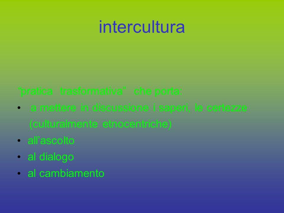 l educazione interculturale riguarda tutti si agisce, non si insegna non è una pratica pedagogica-didattica compensativa per i bambini stranieri