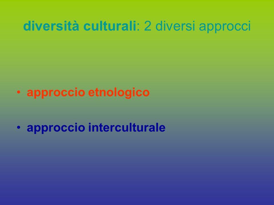 approccio etnologico interculturale la diversità come oggetto di studio: si descrive, si racconta viene rapportata alla cultura di appartenenza staticità (rischi: riduzionismo, etnicizzazione) la diversità come occasione di apprendimento reciproco, di scambio nascita del sincretismo culturale (nuove situazioni, nuove forme di vita) dinamicità