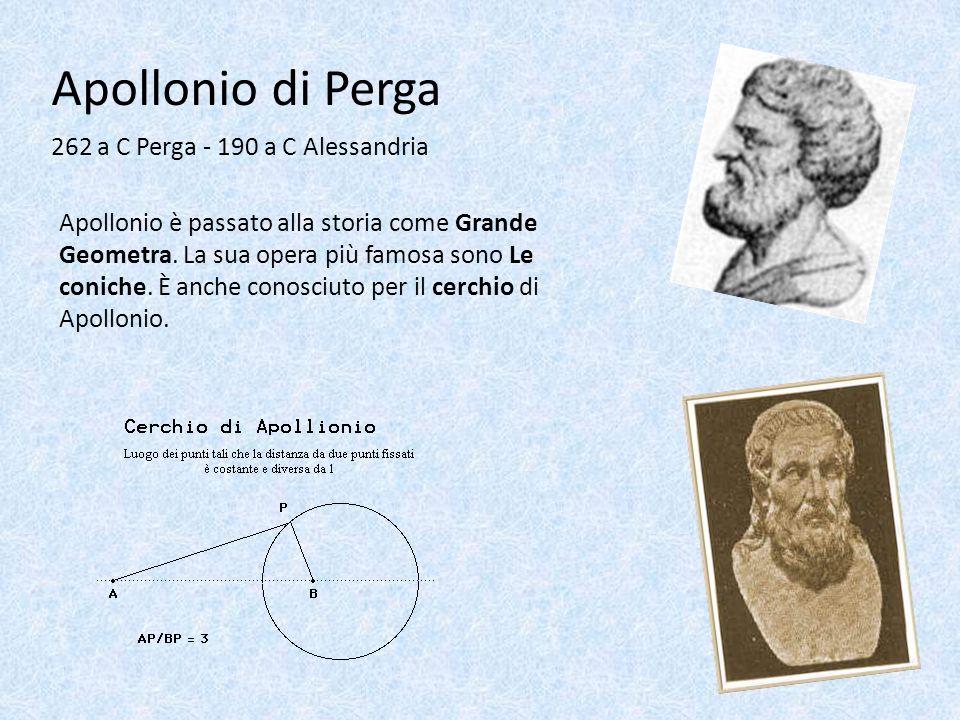 Apollonio di Perga 262 a C Perga - 190 a C Alessandria Apollonio è passato alla storia come Grande Geometra. La sua opera più famosa sono Le coniche.