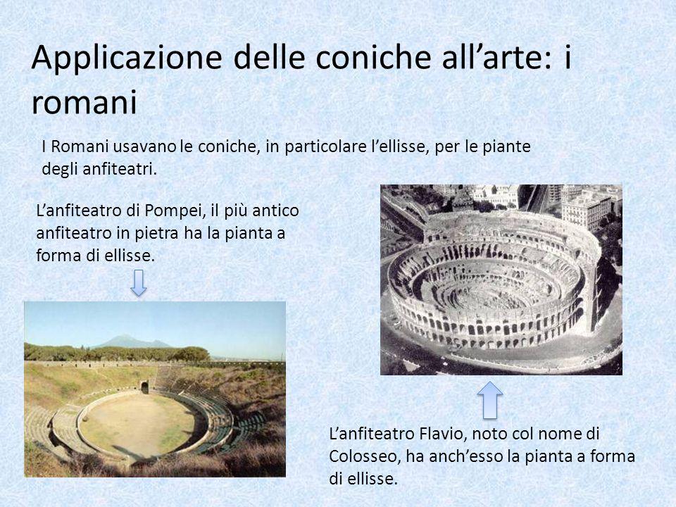 Applicazione delle coniche allarte: i romani I Romani usavano le coniche, in particolare lellisse, per le piante degli anfiteatri. Lanfiteatro di Pomp