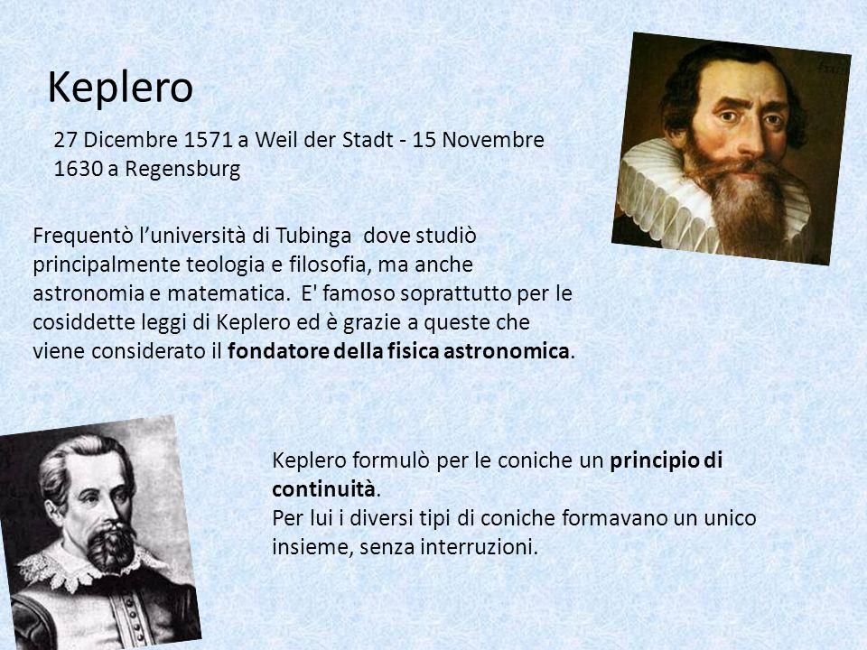 Keplero 27 Dicembre 1571 a Weil der Stadt - 15 Novembre 1630 a Regensburg Frequentò luniversità di Tubinga dove studiò principalmente teologia e filos