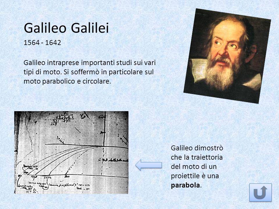 Galileo Galilei 1564 - 1642 Galileo dimostrò che la traiettoria del moto di un proiettile è una parabola. Galileo intraprese importanti studi sui vari