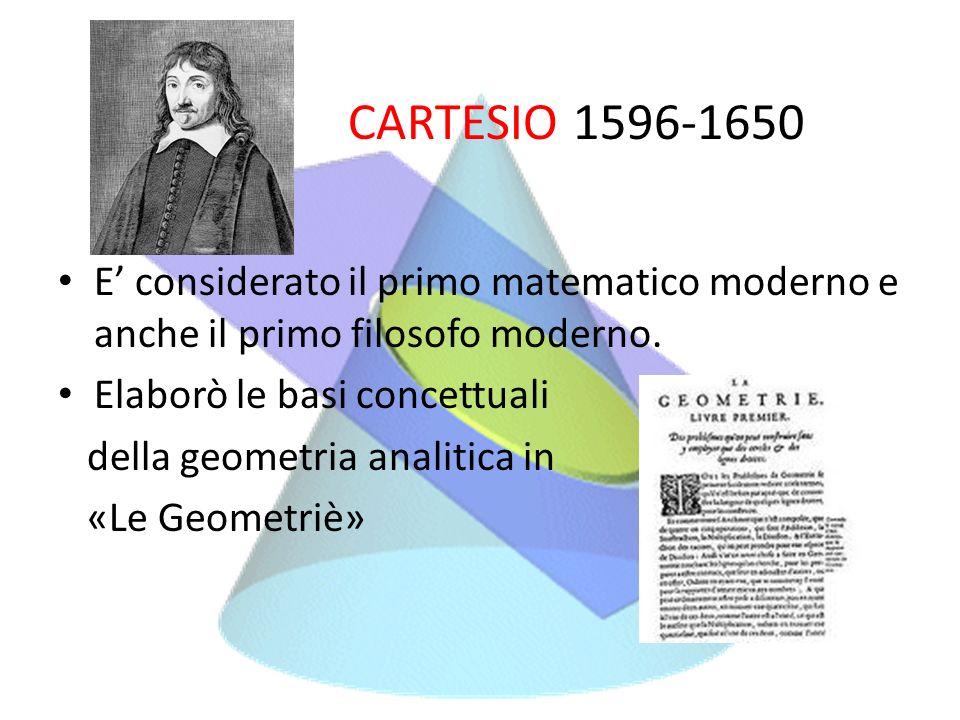 CARTESIO 1596-1650 E considerato il primo matematico moderno e anche il primo filosofo moderno. Elaborò le basi concettuali della geometria analitica