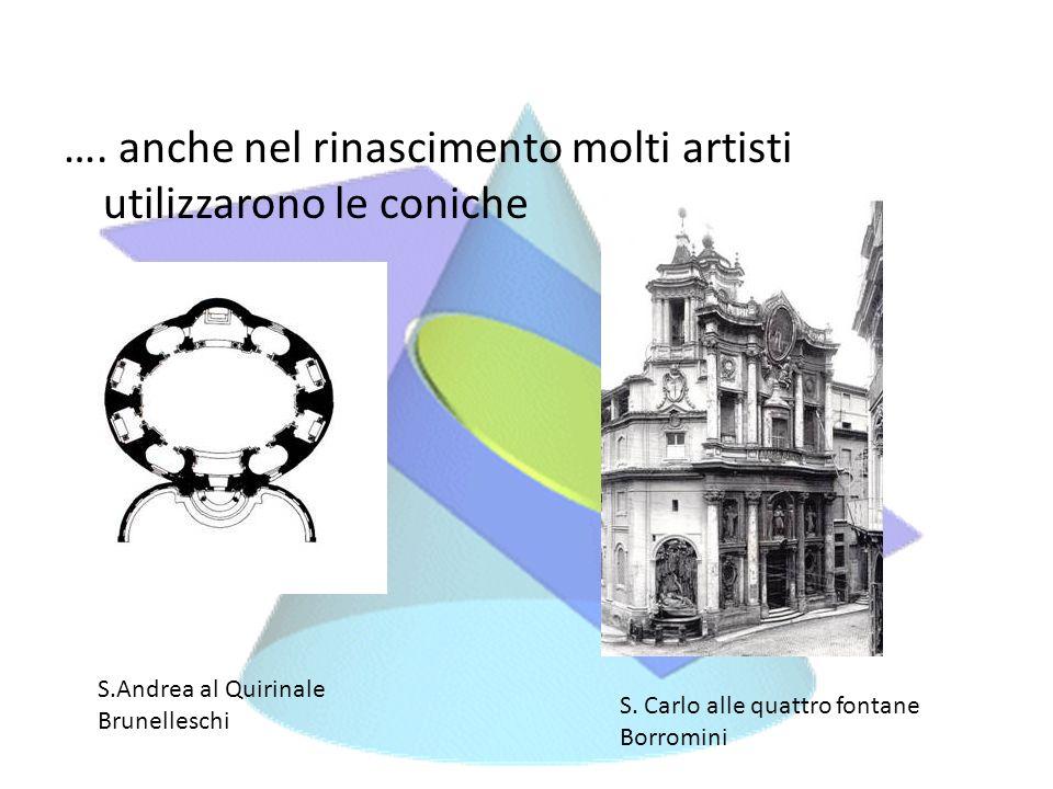 …. anche nel rinascimento molti artisti utilizzarono le coniche S.Andrea al Quirinale Brunelleschi S. Carlo alle quattro fontane Borromini