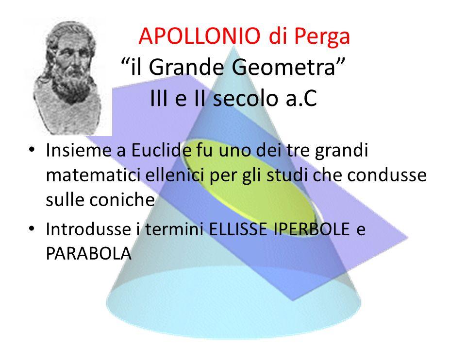 APOLLONIO di Perga il Grande Geometra III e II secolo a.C Insieme a Euclide fu uno dei tre grandi matematici ellenici per gli studi che condusse sulle