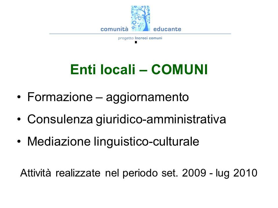 INCROCI COMUNI attività prevista: Enti locali – COMUNI Formazione – aggiornamento Consulenza giuridico-amministrativa Mediazione linguistico-culturale Attività realizzate nel periodo set.