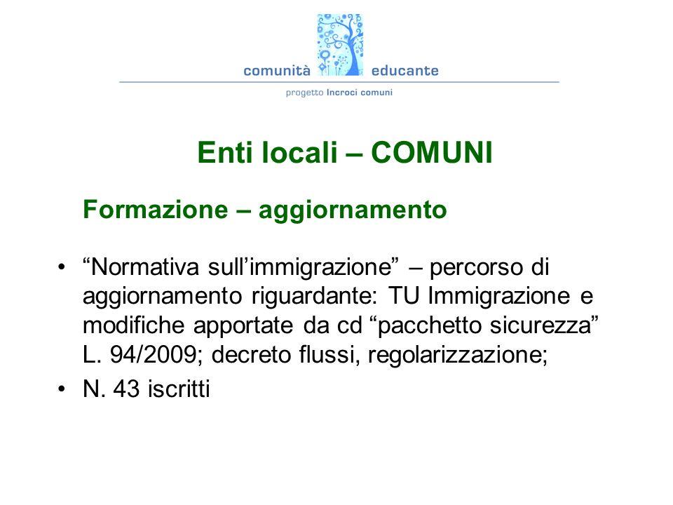 Enti locali – COMUNI Formazione – aggiornamento Normativa sullimmigrazione – percorso di aggiornamento riguardante: TU Immigrazione e modifiche apportate da cd pacchetto sicurezza L.