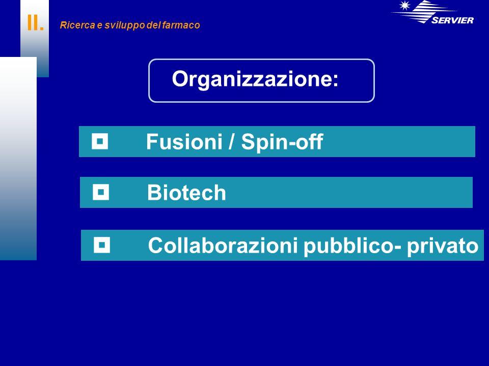 II. Fusioni / Spin-off Biotech Collaborazioni pubblico- privato Ricerca e sviluppo del farmaco Organizzazione:
