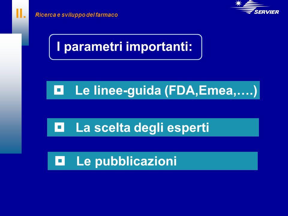 II. I parametri importanti: Le linee-guida (FDA,Emea,….) La scelta degli esperti Le pubblicazioni Ricerca e sviluppo del farmaco