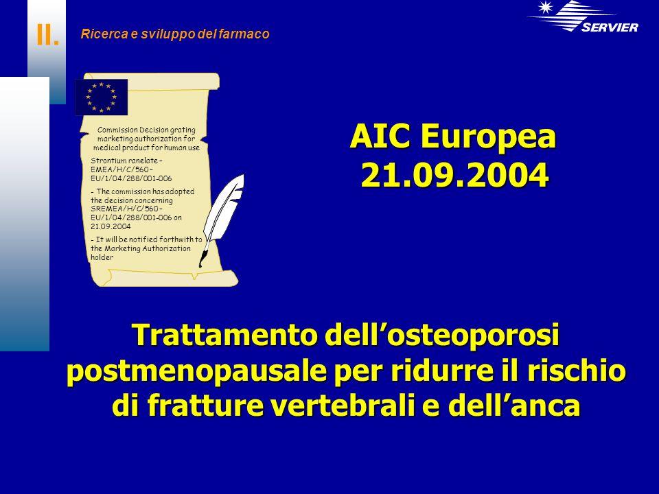 II. Ricerca e sviluppo del farmaco Trattamento dellosteoporosi postmenopausale per ridurre il rischio di fratture vertebrali e dellanca Commission Dec