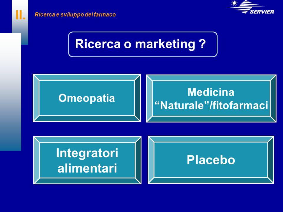 Ricerca o marketing ? II. Omeopatia Medicina Naturale/fitofarmaci Integratori alimentari Placebo Ricerca e sviluppo del farmaco