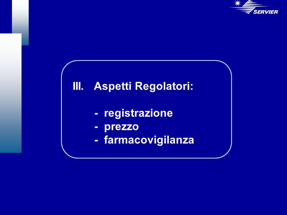 III. Aspetti Regolatori: - registrazione - prezzo - farmacovigilanza