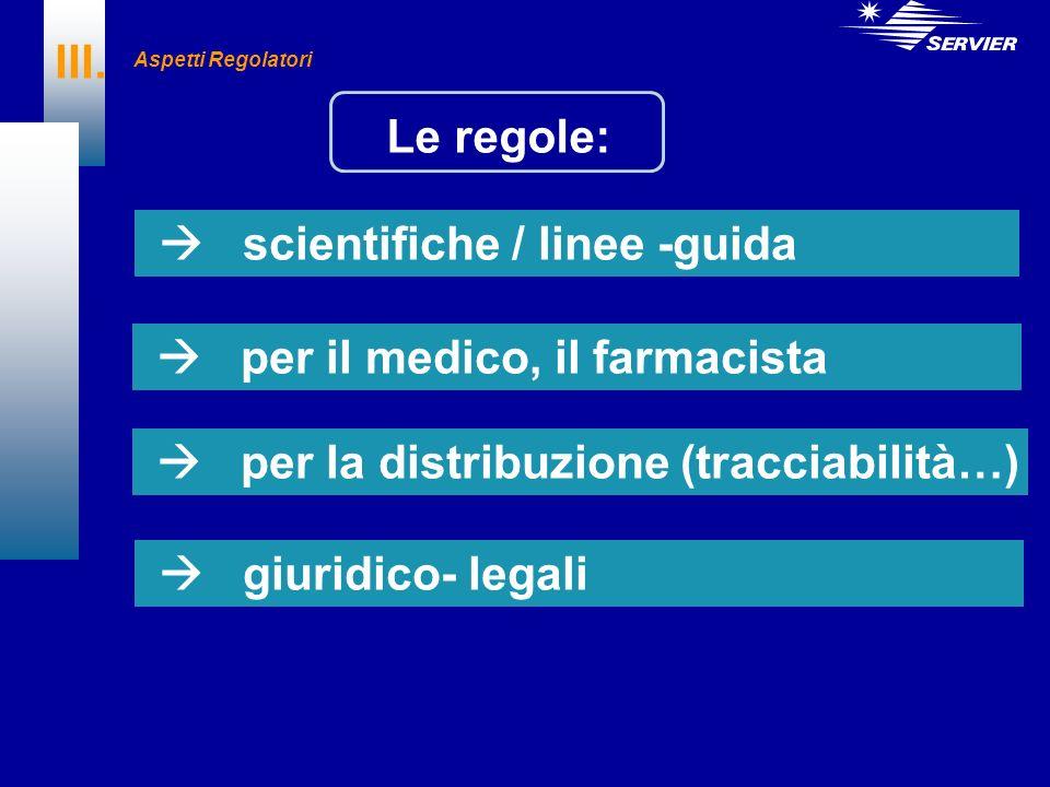 III. Le regole: scientifiche / linee -guida per il medico, il farmacista per la distribuzione (tracciabilità…) giuridico- legali Aspetti Regolatori