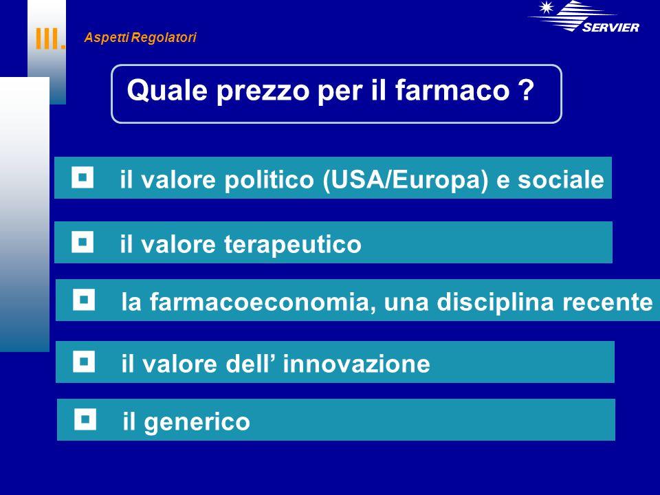 III. Quale prezzo per il farmaco ? il valore politico (USA/Europa) e sociale il valore terapeutico la farmacoeconomia, una disciplina recente il valor