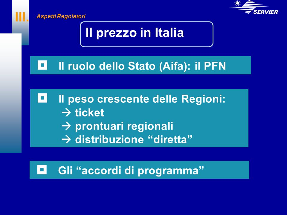 III. Il prezzo in Italia Il ruolo dello Stato (Aifa): il PFN Il peso crescente delle Regioni: ticket prontuari regionali distribuzione diretta Gli acc