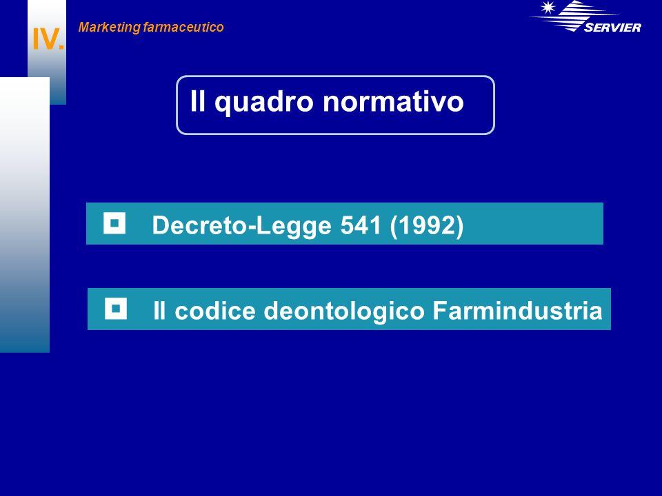 Il quadro normativo IV. Decreto-Legge 541 (1992) Il codice deontologico Farmindustria Marketing farmaceutico