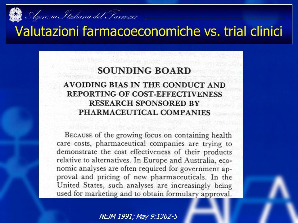 Agenzia Italiana del Farmaco Valutazioni farmacoeconomiche vs. trial clinici NEJM 1991; May 9:1362-5