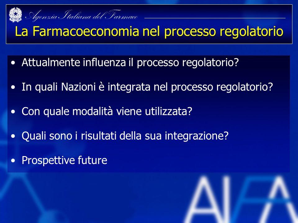Agenzia Italiana del Farmaco La Farmacoeconomia nel processo regolatorio Attualmente influenza il processo regolatorio? In quali Nazioni è integrata n