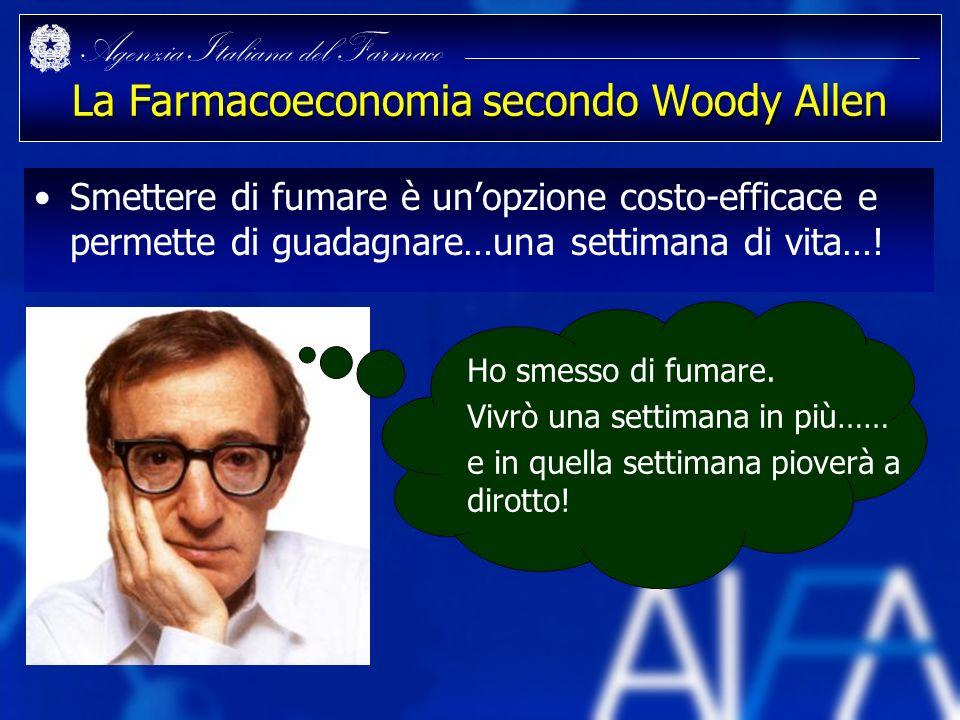 Agenzia Italiana del Farmaco La Farmacoeconomia secondo Woody Allen Smettere di fumare è unopzione costo-efficace e permette di guadagnare…una settima