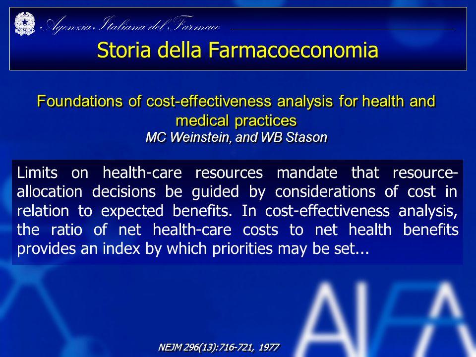 Agenzia Italiana del Farmaco Storia della Farmacoeconomia Limits on health-care resources mandate that resource- allocation decisions be guided by con