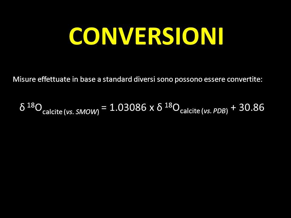 CONVERSIONI Misure effettuate in base a standard diversi sono possono essere convertite: δ 18 O calcite (vs. SMOW) = 1.03086 x δ 18 O calcite (vs. PDB