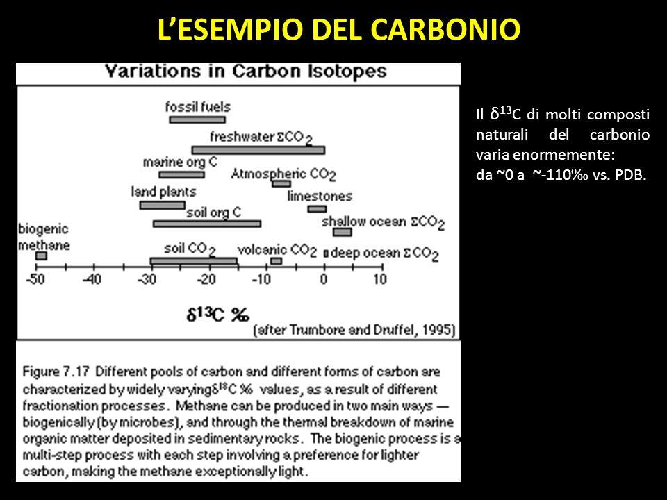 LESEMPIO DEL CARBONIO Il δ 13 C di molti composti naturali del carbonio varia enormemente: da ~0 a ~-110 vs. PDB.
