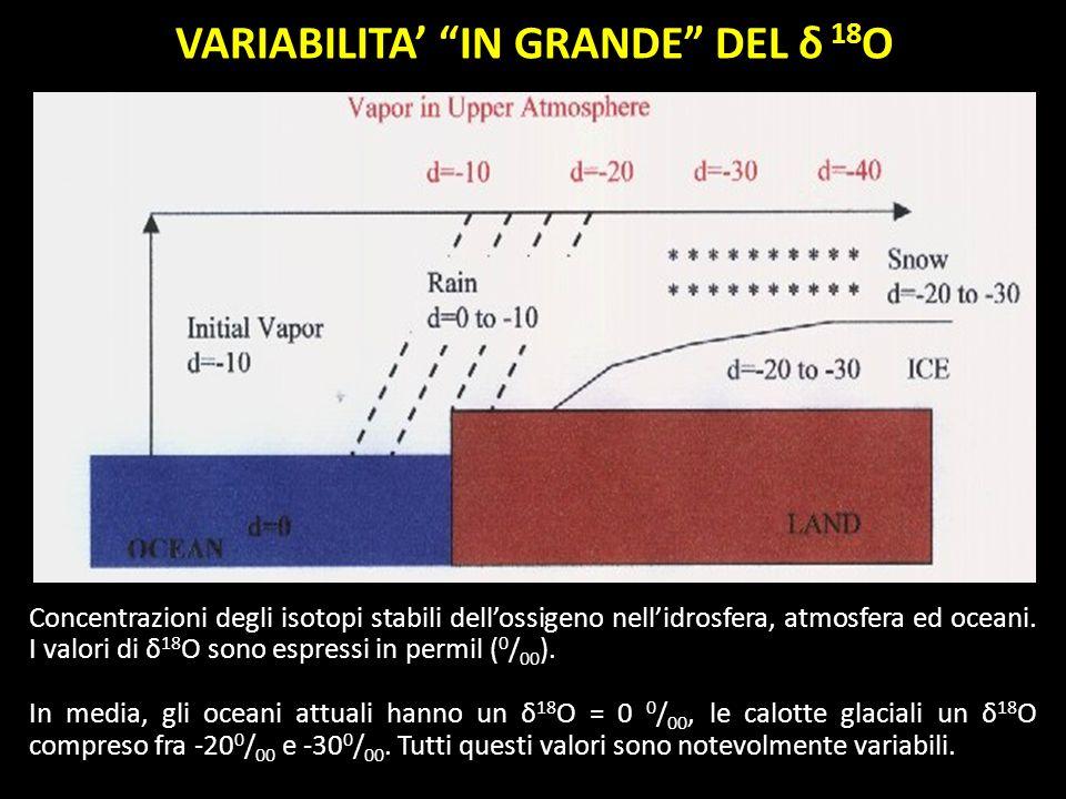 Concentrazioni degli isotopi stabili dellossigeno nellidrosfera, atmosfera ed oceani. I valori di δ 18 O sono espressi in permil ( 0 / 00 ). In media,