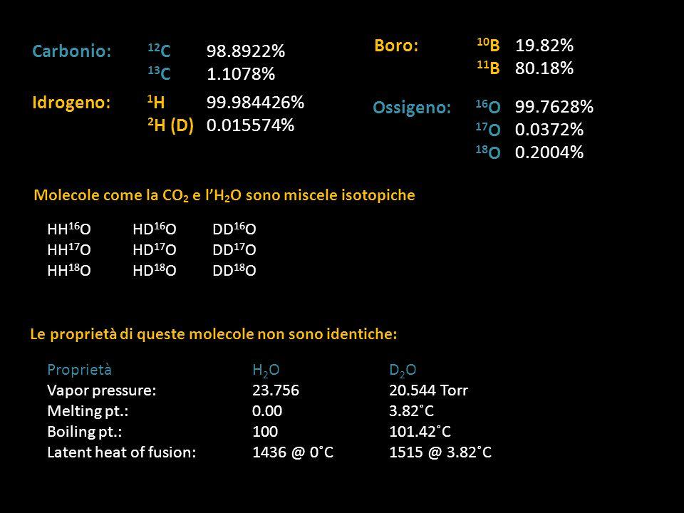 Molecole come la CO 2 e lH 2 O sono miscele isotopiche HH 16 O HH 17 O HH 18 O HD 16 O HD 17 O HD 18 O DD 16 O DD 17 O DD 18 O Le proprietà di queste