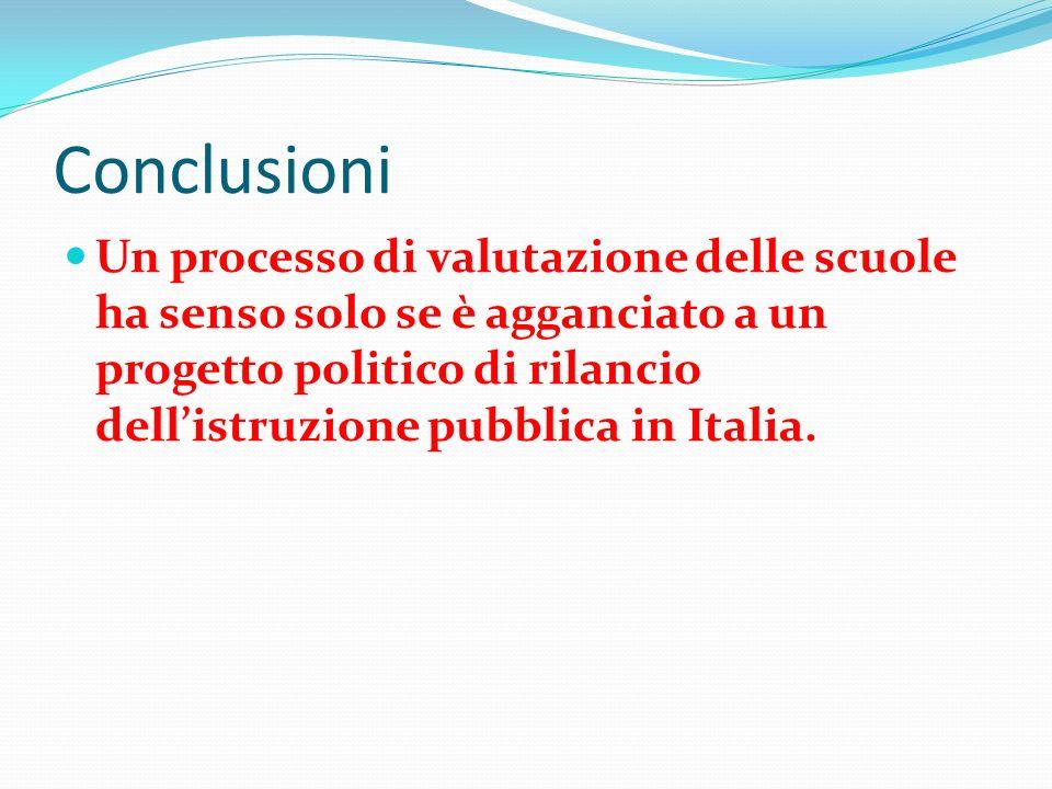 Conclusioni Un processo di valutazione delle scuole ha senso solo se è agganciato a un progetto politico di rilancio dellistruzione pubblica in Italia.