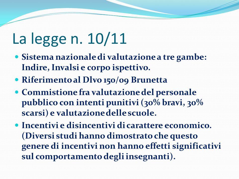 La legge n.10/11 Sistema nazionale di valutazione a tre gambe: Indire, Invalsi e corpo ispettivo.