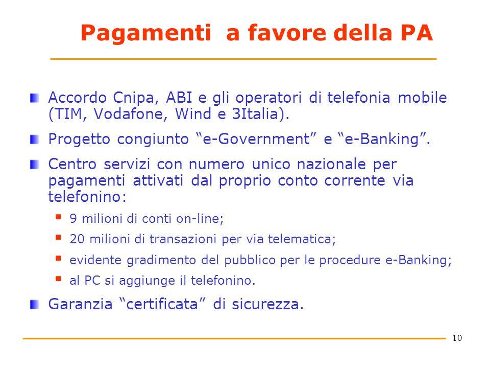 10 Pagamenti a favore della PA Accordo Cnipa, ABI e gli operatori di telefonia mobile (TIM, Vodafone, Wind e 3Italia). Progetto congiunto e-Government
