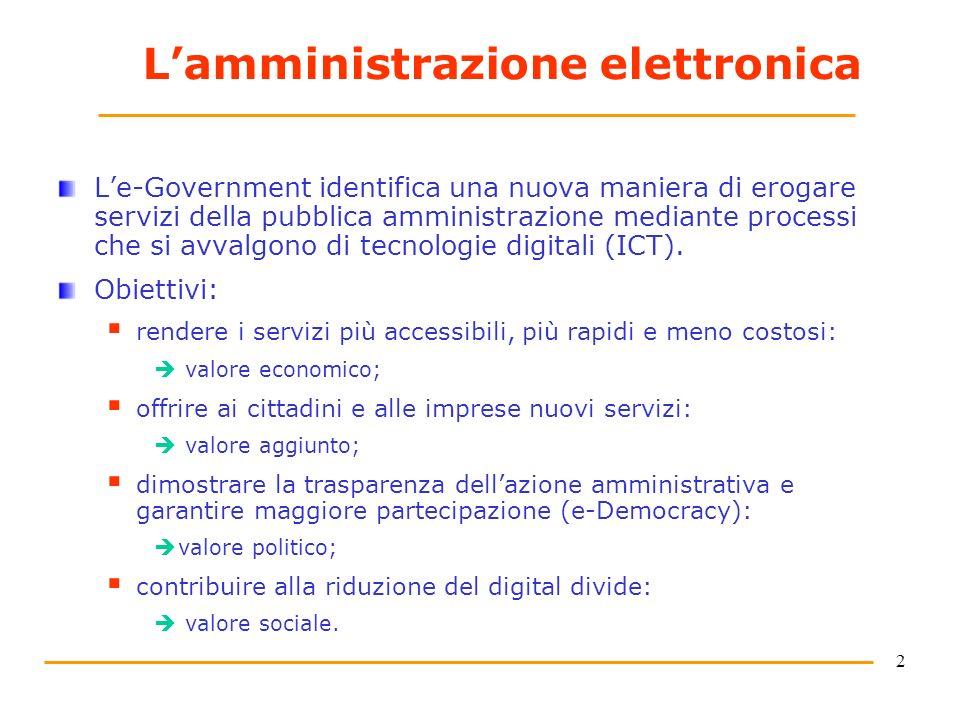 2 Lamministrazione elettronica Le-Government identifica una nuova maniera di erogare servizi della pubblica amministrazione mediante processi che si avvalgono di tecnologie digitali (ICT).