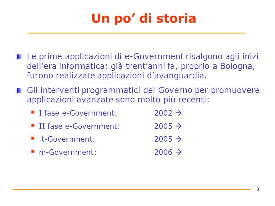 3 Un po di storia Le prime applicazioni di e-Government risalgono agli inizi dellera informatica: già trentanni fa, proprio a Bologna, furono realizzate applicazioni davanguardia.