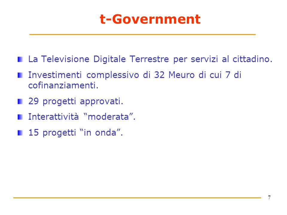 7 t-Government La Televisione Digitale Terrestre per servizi al cittadino. Investimenti complessivo di 32 Meuro di cui 7 di cofinanziamenti. 29 proget