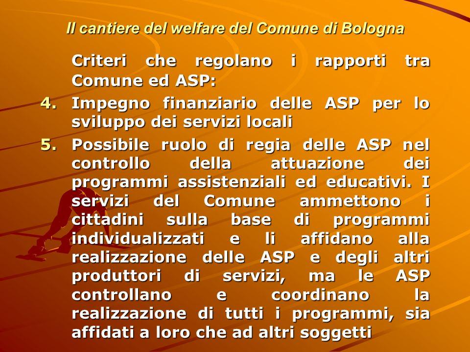 Il cantiere del welfare del Comune di Bologna Criteri che regolano i rapporti tra Comune ed ASP: 4.Impegno finanziario delle ASP per lo sviluppo dei s